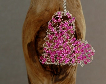 Beaded wire heart necklace valentine heart handknitted with pink glass beads