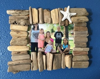 Hawaii driftwood picture frame with starfish