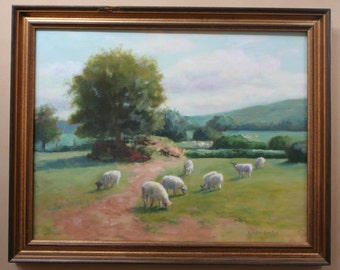 Oil Painting, Sheep, Ireland, Pasture, Landscape