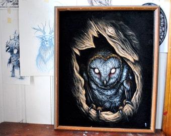 "At Night III - Original black velvet painting 16"" x 20"""