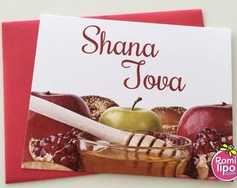 Set of 10 Rosh Hashanah  note cards, Rosh hashanah, Shana Tova, Jewish new year, Judaica note cards, floral note cards, set of note cards