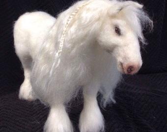 Needle Felted White Shire Horse Animal Ready to Ship