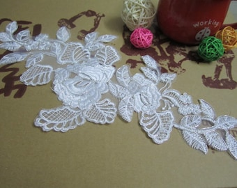 """White lace applique with silver thread 1pc  13"""" * 6.5"""""""