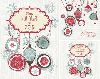 2016 - Instant Download Christmas and New Year Digital Clip Art, Card Making, Scrapbooking, Personal and Commercial Use