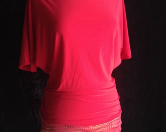 Red Gold Stretch Batwing Tunic Top M L New