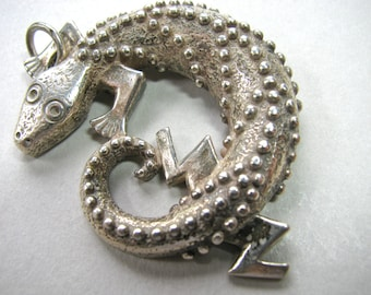 Sterling Silver pendant, Lizard pendant, 35mm, 0. 7 ounces - 704