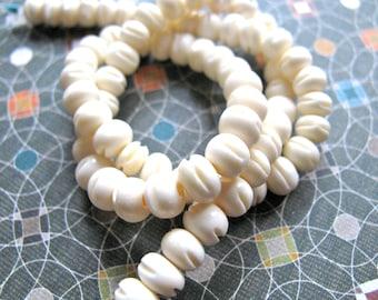Carved bone beads, 76 beads, 13 inch strand, 6x5mm - #455