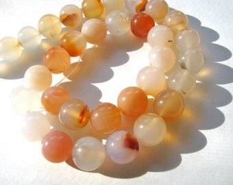Peach and white Agate, 16 beads, 12mm - #54