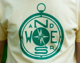 WANDERS COMPASS Hand-Screen Printed 100% Cotton T-Shirt in Yellow & Green