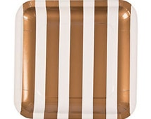 """8pc Gold 10.25""""  Stripe Square Dinner Plate, Gold Wedding Plate, Gold Chevron  Dinner Plate, Gold and White Dinner  Wedding Paper Plate"""