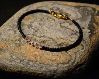 Black and Crystal beads bracelet