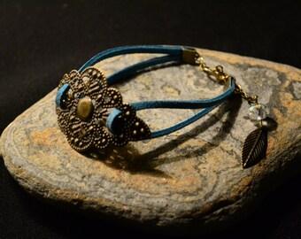 Bracelet bronze print & turquoise suede