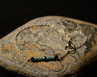Bracelet of silver, Crystal and jade green