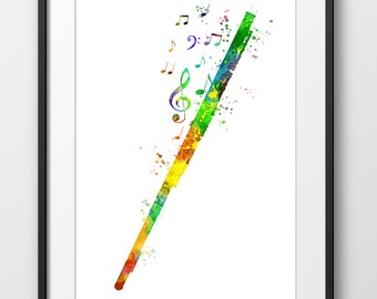 Flute Print No2, Flute Watercolor Poster, Music Art Print, Music Wall Art, Music Instrument Poster, Flute Decor, Flute Art (A0294)