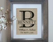 Bridal Shower Gift   Wedding Gift   Burlap Monogram   Wedding Gifts   Personalized Wedding Gift for Couple   Gift for Her   Engagement Gift