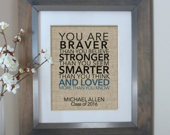Graduation gift etsy you are braver than you believe burlap print 2017 graduation gift for her 2017 negle Gallery