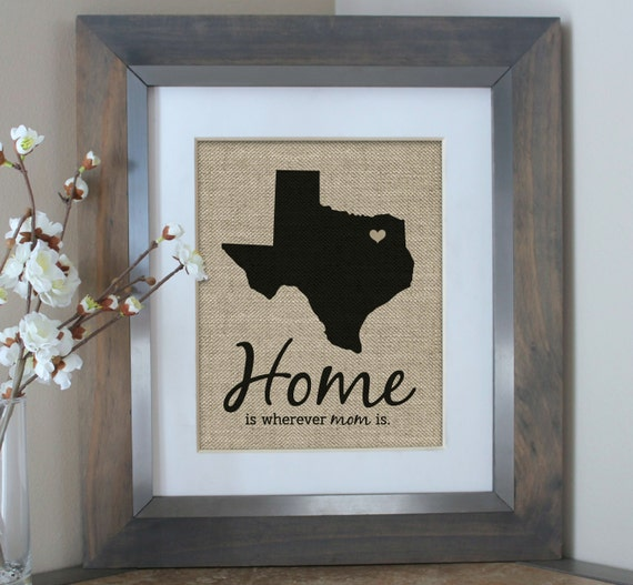 Home Is Wherever Im With You Burlap Print Home Decor