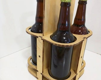 A carry along 4 pack for 22 ounce or standard 750 ml wine or hard liquor bottles.