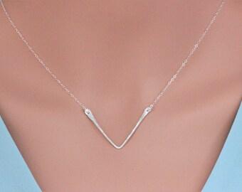 v Necklace , Long Chevron Neceklce ,  triangle necklace , Geometric Necklace,  Silver Chevron Necklace , layered necklace , Celebrity trend