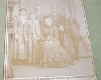 Vintage Cabinet Card Photo of Family - Attica, IND. 1893
