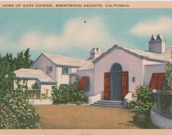 Gary Cooper Home Vintage Postcard  Brentwood Heights California