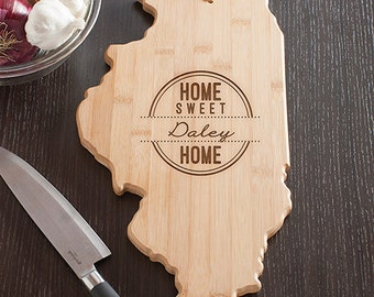 Illinois State Shaped Cutting Board, Engraved Illinois Shaped Cutting Board