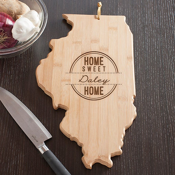 illinois state shaped cutting board engraved illinois shaped. Black Bedroom Furniture Sets. Home Design Ideas