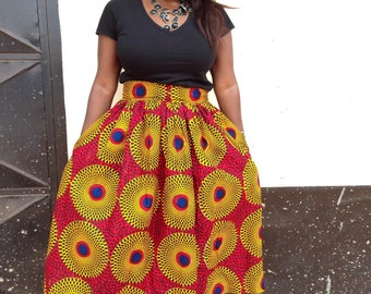 Zoey Ankara Tea Skirt / Ankara Skirt/ African Print Skirt