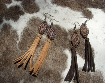 Cowgirl Chic Tooled Leather Navajo Tassel Earrings