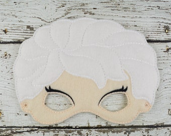 Ice Queen Mask Children's Felt Mask  - Costume - Theater - Dress Up - Halloween - Face Mask - Pretend Play - Party Favor