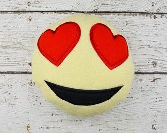 Smiling Emoji with Heart Shaped Eyes Plushie