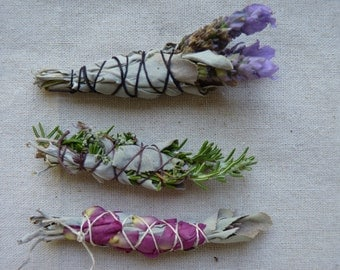 Mini sage wands, set of 3 sage bundles, sacred white sage wands, rosemary, lavender, rose, smudging, space clearing, Sister Mary Sage