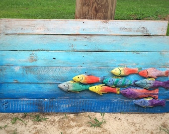 Fish Decor Hand Carved Reclaimed Wood Fish in the Sea Wall Hanging Ocean Beach Art