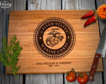 Marine Corps, Personalized Engraved Bamboo Wood Cutting Board, USMC Name Rank Date, Military, Caramel or Natural - Retirement Gift, Birthday