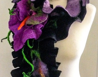 Scarf Felted, Merino Wool, Brooch, Flower, Stylish, Accessory,Orchid