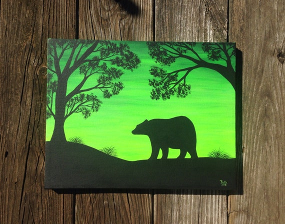 Silhouette art bear home decor silhouette by sundogartandglass for Bear decorations for home