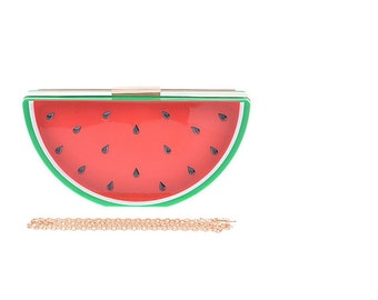 Watermelon Clutch with detachable shoulder strap.