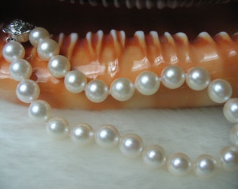 7 mm AAA- White Akoya Cultured Pearl Bracelet 925 silver clasp - SKU#: br11