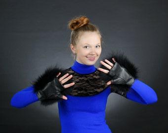 Black Fox Fingerless Gloves