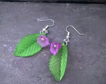 Leaf and Purple Flower Earrings