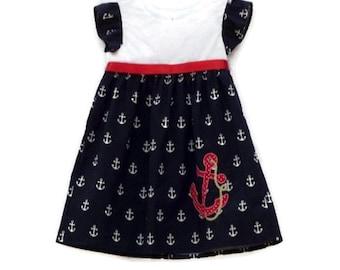 Nautical dress, sailor dresses, baby girls dress, nautical dress anchor applique, Birthday outfit,Toddler dress, summer dress, cruise dress