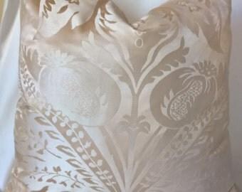 """Scalamandre Newport Damask 100% Silk Custom Pillow Cream 24""""x24"""" 20100M Super! Designer Pillow Throw Pillow"""