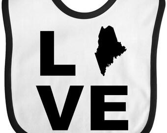 Love Maine Baby Bib by Inktastic