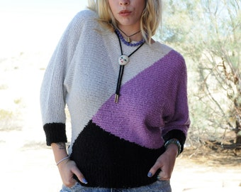 Colorblock Knit Sweater · That Place Palm Springs · Batwing Sleeves 70's