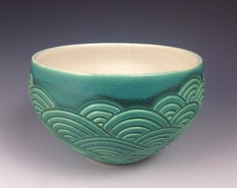 Blue green wave bowl