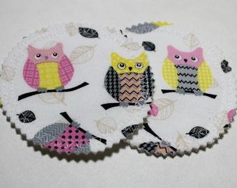 Owl Nursing Pads, Breast Pads for Nursing, Washable Reusable Nursing Pads, Breastfeeding Pads, Absorbent Pads, Girly Owl Print