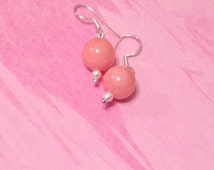 Fresh water pearl earrings with pink jade in sterling silver