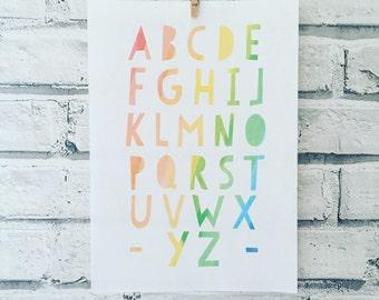ABC alphabet A4 size wall art print