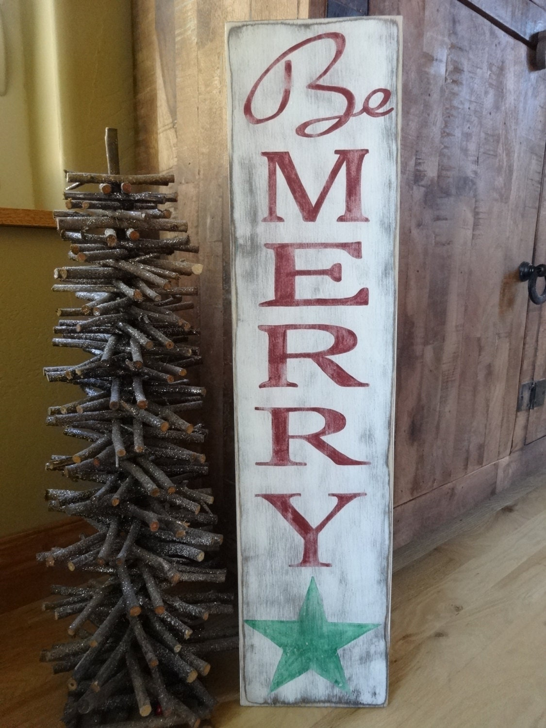 Be Merry Christmas Sign 26x6 Hand Painted Wood Sign Vertical