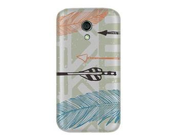Moto G Case (2nd gen) Moto G2 Case, Feathery Tribal Hard CasePhone Cover
